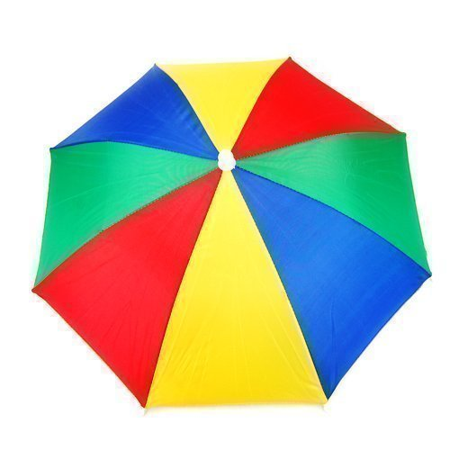 Multi Color Novelty Umbrella Hat Brolly voor golfvissen Hunting Holiday Head Cap