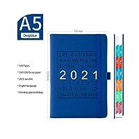 この2021年のスケジュールと英語の厚みのあるノートブックA5レザーソフトカバー学校日記オフィス事業計画文房具を計画する-Navy blue-A5