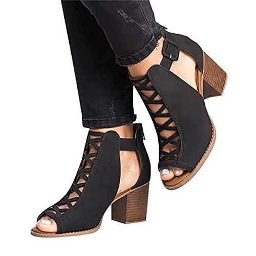 KLGH Punta Abierta Sandalias Mujer, Bombas Tacones De Bloque Tacones Altos Zapatos,...