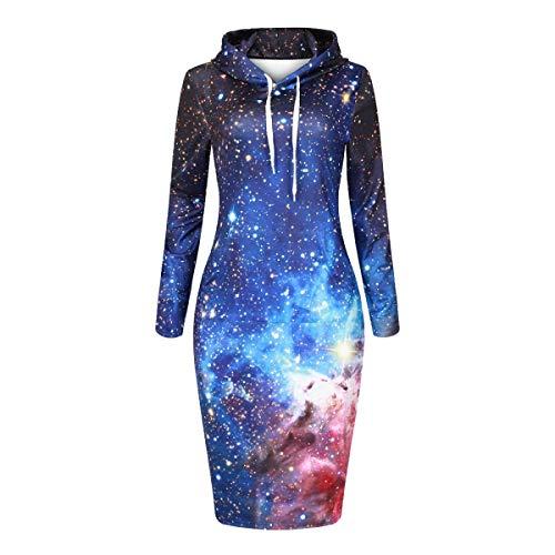 HX fashion Damesjurken Met Capuchon Lente Herfst Comfortabele Maten Elegante Mode Slanke Bodyconjurken Lange Mouwen Galaxy 3D-Print Shirtjurken Blousejurk Met Kap