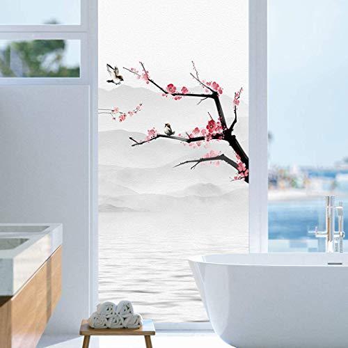 Xijier Vinilo para ventana de privacidad Wintersweet Wash pintura adhesivo para ventana, no adhesivo, sin pegamento, protección UV, cubierta de ventana para el hogar, 65 x 85 cm