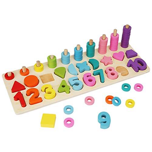 Colmanda Puzzles de Madera, Montessori Tablero de Conteo Aprender a Contar Anillos Juego de Clasificador de Forma Números Rompecabezas Juguete Educativo para Niños (A)
