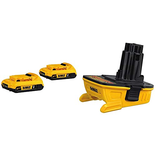 DEWALT 20V MAX Battery, Compact 2.0Ah Double Pack (DCB203-2), Yellow & 18v to 20v Adapter - Bare (DCA1820),Yellow/Black