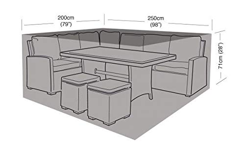 Garland Products Limited SMALL BLACK CASUAL GARDEN DINING SET COVER 250CM FURNITURE WATERPROOF PROTECTION