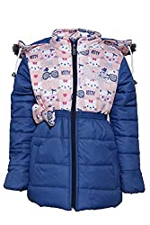 Come in Kids Girls Winterwear Hooded Full Zipper and Button Closure Solid Quilted Jacket