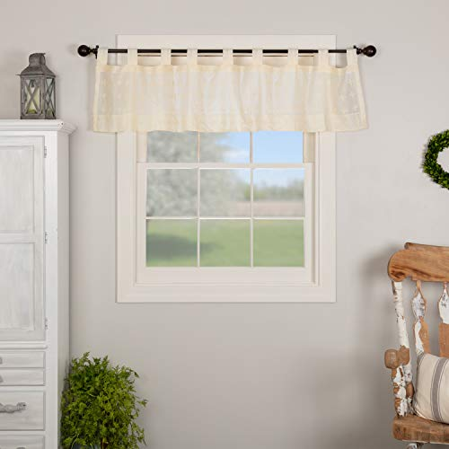 VHC Brands Farmhouse Kitchen Window Curtains-Willow Tab Top Valance, 16x72, Creme White