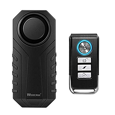 Wsdcam 113dB Wireless Anti-Theft Vibration Motorcycle Bicycle Alarm Waterproof Security Cycling Bike Alarm with Remote by Wsdcam