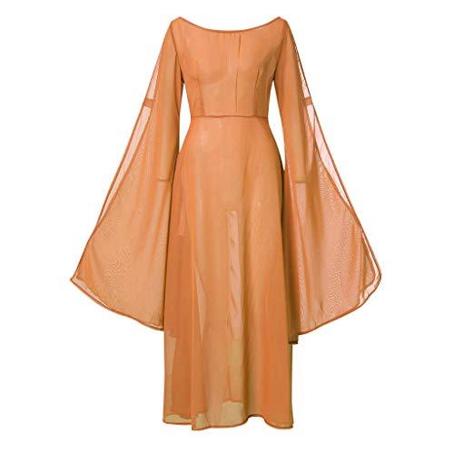 NHNKB Vestido largo para mujer, disfraz de vampiro, disfraz de bruja, estilo medieval, estilo gótico, para carnaval, fiesta de disfraces, cosplay, vestido de noche, naranja, XXXL