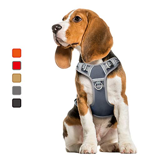 ATOPARK Dog Harness No-Pull Pet Harness Adjustable Comfortable Harness with Handle Outdoor Pet Vest Reflective Oxford Soft Breathable Vest Easy Control for Small Medium Large Dog Grey M