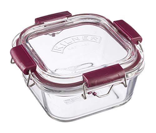 Frischhaltedose aus Borosilikatglas mit auslaufsicherem Clipverschluss-System, BPA-frei, backofen- und mikrowellenfest, 750 ml, Maße:  17,5 x 17,5 x 8,5 cm