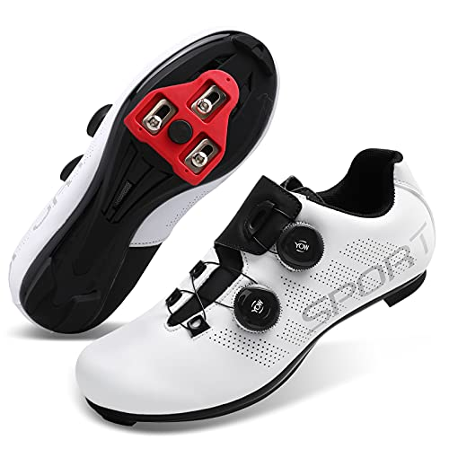 Fires Mens Womens Cycling Shoes for Road Bike Spin Shoes for Indoor Riding Peloton Shoes Compatible with SPD and Delta Cleats Sport White Women 10.5 Men 8