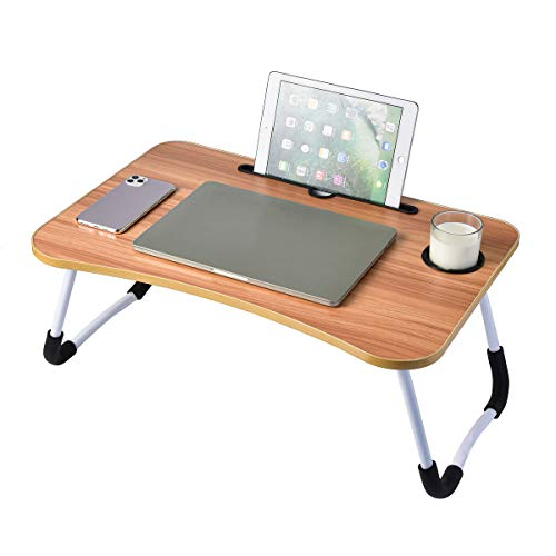 Laptop Desk, Foldable Portable Lap Standing Desk with Cup Slot, Breakfast Serving Bed Tray, Reading Holder - Walnut