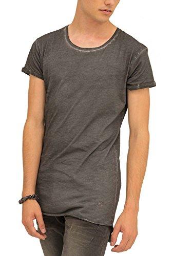 Trueprodigy Casual Homme Tee Shirt uni Basique, Vetements Swag Marque col Rond (Manche Courte & Slim fit Classic), t-Shirt Mode Fashion Couleur: Gris
