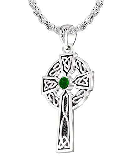 US Jewels Men's 925 Sterling Silver Simulated Emerald May Birthstone 1.5in Irish Celtic Knot Cross Pendant 2.2mm Rope Necklace, 24in