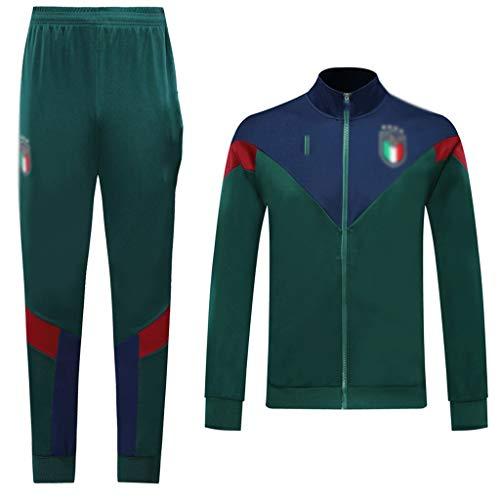 Jinjuntech Esclusivo Tifosi! Club Uomo Calcio Europeo a Maniche Lunghe Sportswear Verde Estate Traspirante Calcio Vestiti di addestramento (Top + Pants) -WEO257 (Color : Green, Size : M)