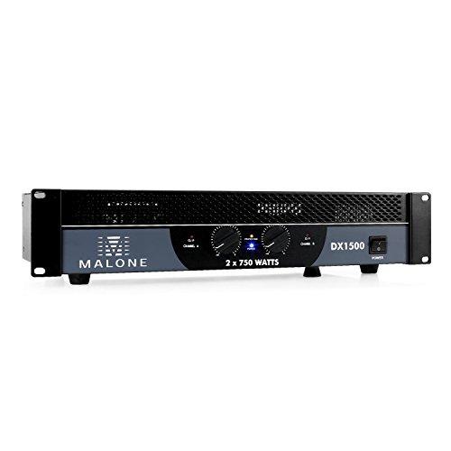 Malone DX1500 - PA-Endstufe, PA-Verstärker, 2 x 750 Watt max, brückbar, 2/1 Kanal-Betrieb, 48 cm Rackeinbau, Ground- / Lift-Umschaltung, 2 x 6,3 mm-Klinken-Eingang, Metallgehäuse, schwarz