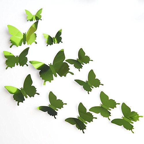 Dtuta 12pcs Mariposa Plata Espejo Decoración Hogar Arte 3D Adhesivos Decorativos Tuercas, Full Light Sharma