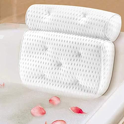 GUIFIER 4D Almohada para bañera Almohada para baño Reposacabezas de SPA con 7 ventosas Antideslizantes, Adecuado para bañarse en el baño, masajes, SPA