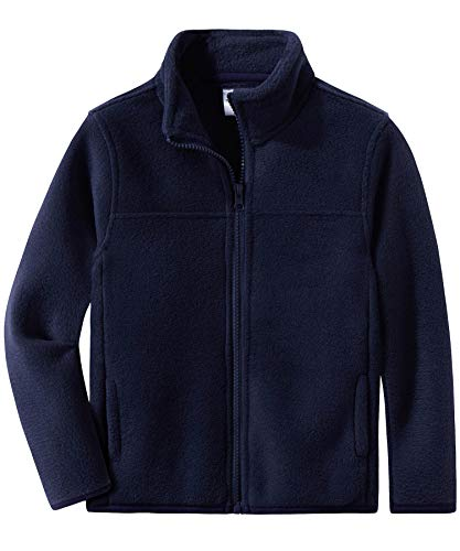 Spring&Gege Youth Solid Full-Zip Polar Fleece Jacket for Boys and Girls Navy Blue Size 11-12 Years