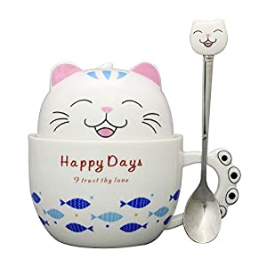 Teagas Cute Black & White 3D Panda Ceramic Coffee Mug with Stainless Steel Spoon,Gift for Panda Lovers