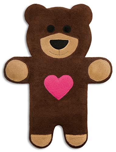CUSCINO RISCALDABILE Leschi per la pancia, la schiena e la zona lombare/Per coliche dei neonati e il ciclo/Per microonde, con semi di grano/Cuscino termico per bambini/Teddy l'orso con cuore, marrone