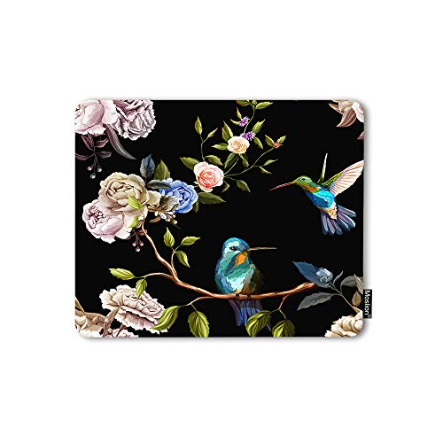 Moslion Mouse Pad Hummingbird Retro Flowers Animals Rose Peony Tree Branches Beautiful Pattern Gaming Mouse Mat Non-Slip Rubber Base Thick Mousepad for Laptop Computer PC 9.5x7.9 Inch