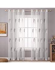 MIULEE Sheer gardin voile blommor broderi gardiner med öljetter transparent 1