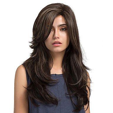 Js-wigs Perruque synthétique Naturel Wave Marron pour femme Capless Naturel Perruques longs cheveux synthétiques