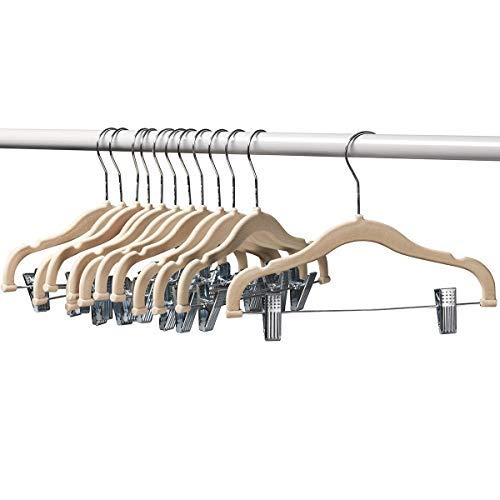 12 Pack Baby Hangers with Clips Ivory Baby Clothes Hangers Ultra Thin No Slip Kids Hangers