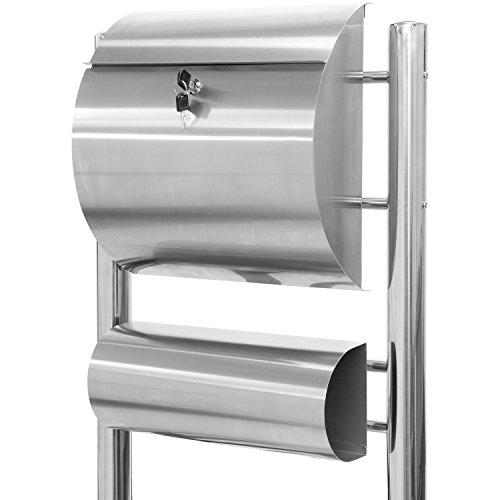 Maxstore STILISTA Briefkasten V2A Edelstahl Standbriefkasten mit Zeitungsfach, Postkasten unterschiedliche Designs, Höhe 120-144cm, Schwere Qualität (6-8kg) - 40100029