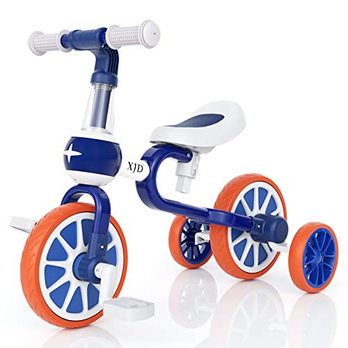 XJD 3 in 1 Baby Balance Bike for 18 Months to 4 Years Old Boy Girl Tricycle for Kids Toddler First Beginner Bike Child Trike Infant 4 Wheel Balance Bicycle with Adjustable Seat Detachable Pedal, Blue