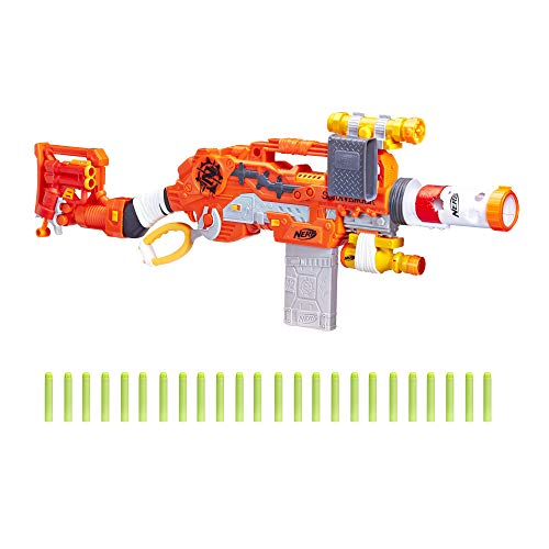 Scravenger Nerf Zombie Strike Toy Blaster with Two 12-Dart Clips, 26 Darts, Light, Barrel Extension, X 40Mm, Stock, 2-Dart Blaster - For Kids, Teens, Adults