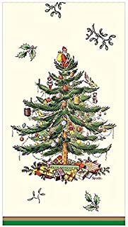 Spode Christmas Tree Paper Dinner Napkins Guest Towels, 32 Ct, Tri Border by C.R Gibson