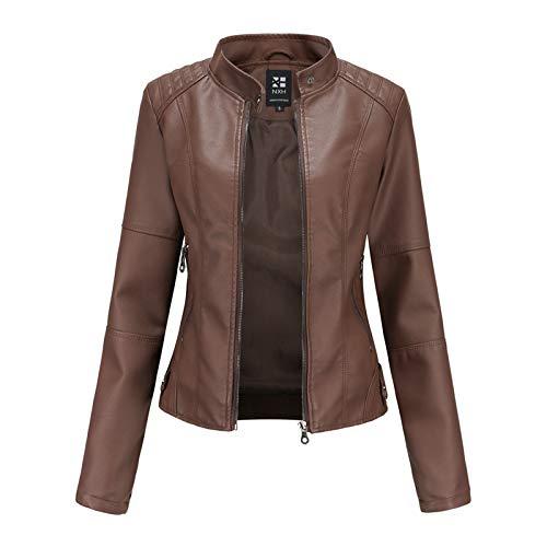 Damen PU Lederjacke Leather Jacket Bikerjacke mit Reißverschluss Frauen Kurz Jacke aus Kunstleder Jacke Motorrad Jacke Kurze Jacke für Herbst Frühling H3,Coffee,3XL