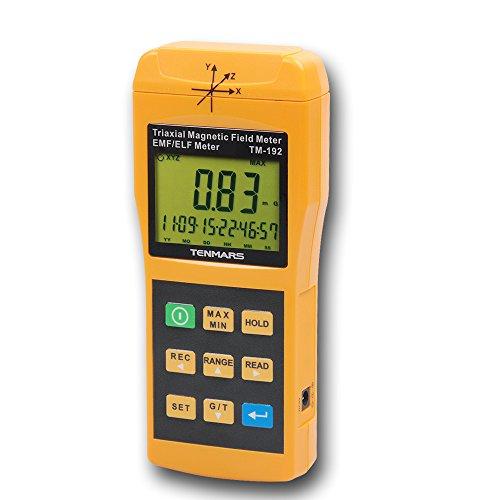 Tenmars TM-192 3-Axis Gaussmeter EMF ELF Magnetic Field Gauss Meter with 30 - 2000Hz and Taiwan Made