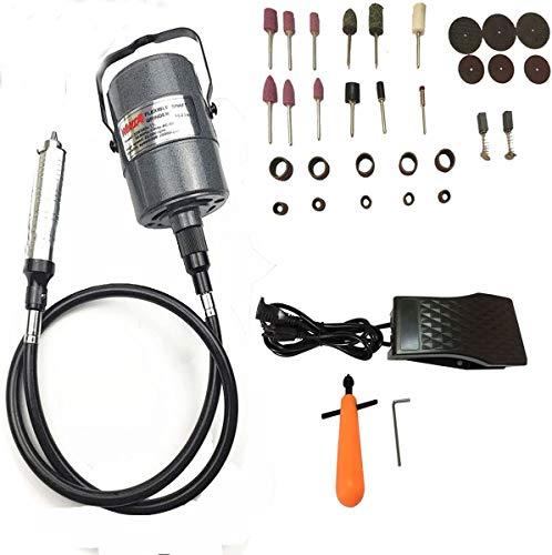 Beyondlife Flessibile elettrico, strumento per incisione; set tipo di gruccia, girevole, multi-uso, mandrino, pedale di comando, 1/4HP, 30pezzi, accessori