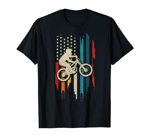 Bicicleta de montaña Bandera Americana Vintage Patriótico MTB Biker Regalo Camiseta