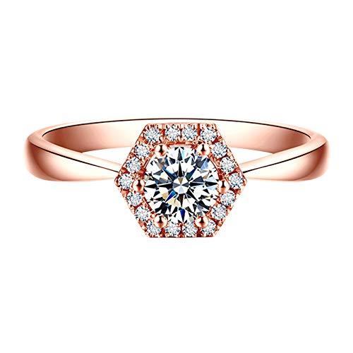 KnSam 18K Oro Rosa Anillo, Anillo de Propuesta Hexágono, Diamante F-G, Color Oro Rosa, Diamante Principal 0.3ct - Talla 26