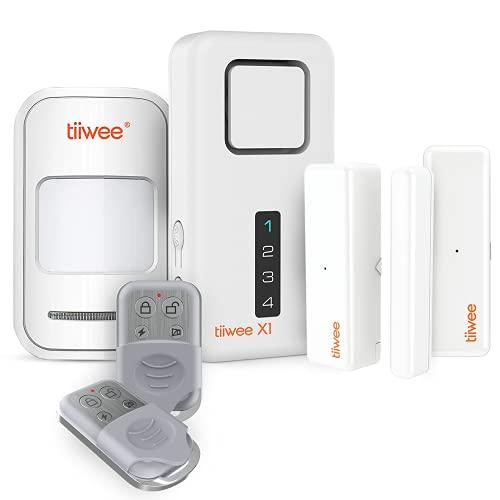 tiiwee Home Alarm System Kit X1 XLPIR - Alarmanlage mit 2 Fenster- oder Tuer Sensoren, 1 Bewegungsmelder und 1 Fernbedienung - Erweiterbar - Alarmmodus oder Benachrichtigungsmodus