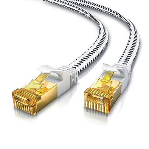 CSL - 1m CAT 7 Netzwerkkabel Flach 10 Gbits - Baumwollmantel - LAN Kabel Patchkabel Datenkabel - CAT.7 Gigabit RJ45 Ethernet Cable - 10000 Mbits Geschwindigkeit - Flachbandkabel - Verlegekabel