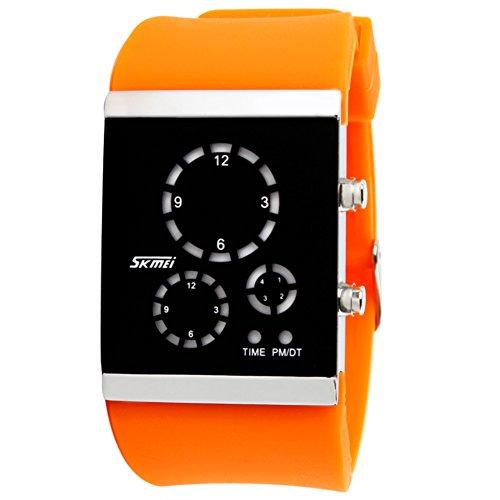 Unisex Paar gelee led elektronische Sport Uhren, Großen Bildschirm Bunte Kieselgel Armband Mode männer und Frauen DREI Windows Armbanduhr wasserdicht-B