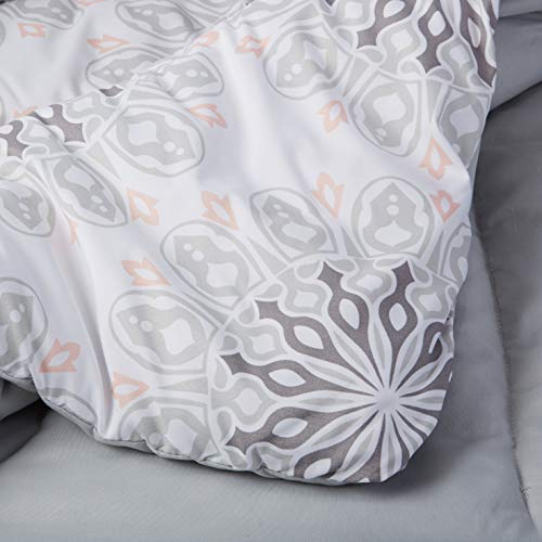AmazonBasics 10-Piece Comforter Bedding Set, Full / Queen, Grey Boho Medallion, Microfiber, Ultra-Soft