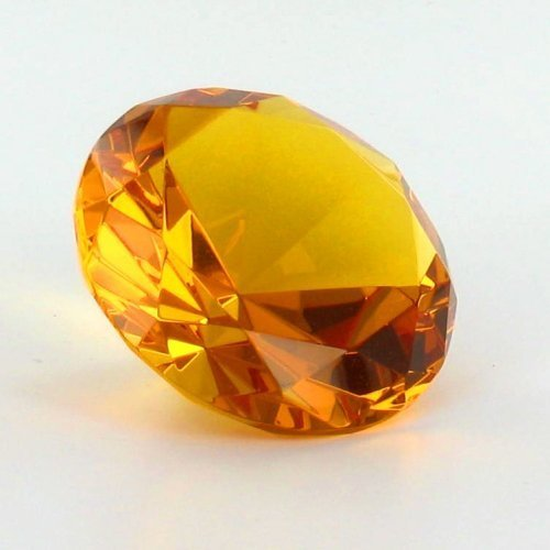 Citrine Orange Crystal Glass Diamond Shaped Paperweight 2.25''