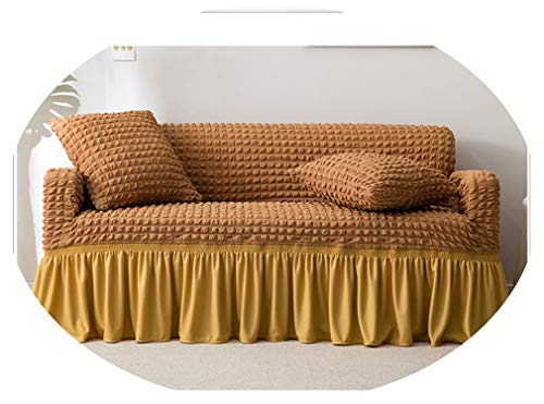 sensitives Slipcover Popcorn Plaid Sofa Cover Tight wrap All Inclusive Elastic Couch Cover with Skirt Armchair/loveseat Furniture Covers,Camel,Single-seat Sofa
