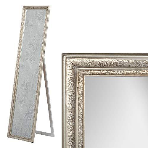LEBENSwohnART Standspiegel Jennifer Antik-Silber ca.H160cm Ankleidespiegel Ganzkörperspiegel