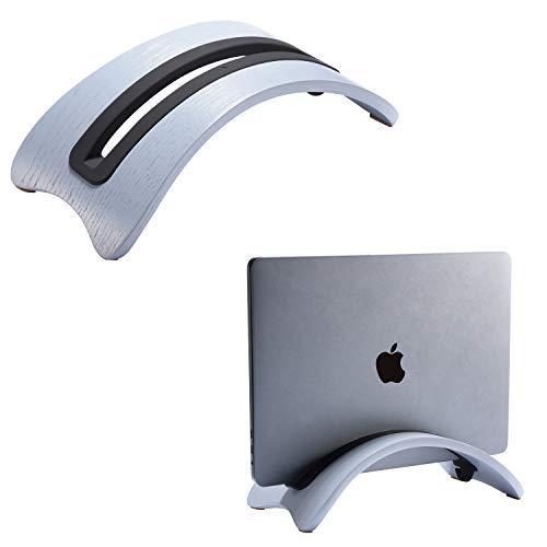 SAMDI Stand in Legno per Portatile, Verticale Desktop Supporto da Tavolo con 3 Slot Altro Computer Desktop Compatto per Laptop Apple MacBook Air PRO (Rovere Grigio)