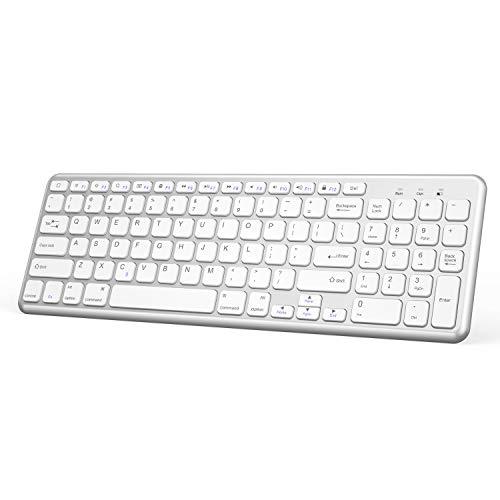 OMOTON Wireless Bluetooth Keyboard with Numeric Keypad for iPad Pro 11''/ 12.9'', iPad 9.7 inch, iPad Air 2/Air, iPad 4/3/2, iPad Mini, All iPhones, Silver