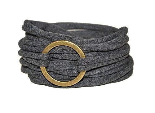 Wickelarmband in anthrazit mit bronzefarbenem Ring