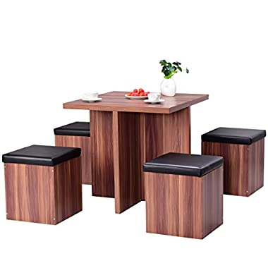 Giantex 5 Pcs Kitchen Dining Table Set Wood Dinette Table Set w/ 4 Storage Ottoman Stools Home Furniture (Brown)