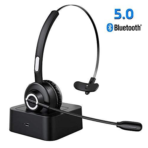 ESOLOM Auriculares Bluetooth V5.0 con Micrófono, Auriculares Inalámbricos con Base de Carga, Auriculares Profesionales Para PC con Reducción de Ruido, Manos Libres, Servicio Telefónico, Oficina